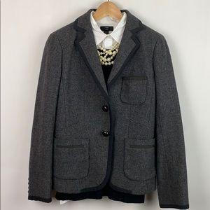 J.Crew  4 Vintage Professor Blazer Gray Wool Trim